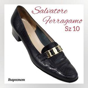 Salvatore Ferragamo Black Croc Gold Logo Hardware